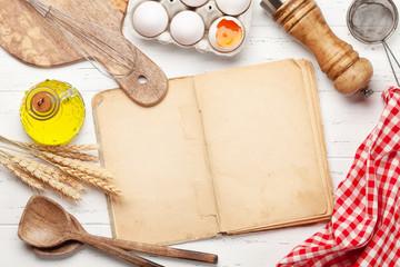 Cooking utensils, ingredients and cookbook