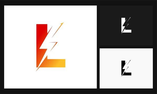 letter L lightning concept design electrical logo