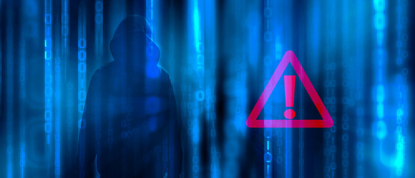 Ransomware concept. Abstract digital background with anonymous man hacker in binary code with warning sign. Hack, darkness, virtual reality and science fiction. Matrix background with cybersecurity.
