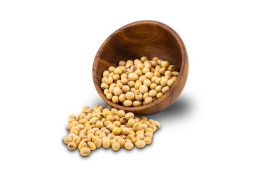 Fototapete - Soy beans or Soybeans in wooden bowl on white background with clipping path.