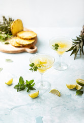 Pineapple coriander infused margarita with ingredients