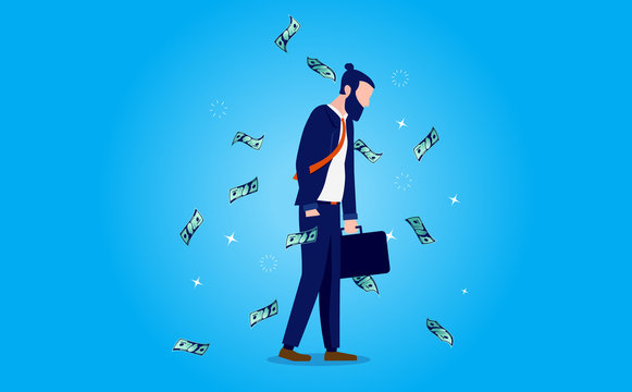 Unhappy money - Modern depressed man not happy with salary and income. Feeling down, no joy and money cant buy happiness concept. Vector illustration.