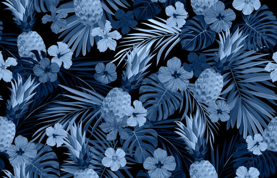Seamless hand drawn tropical vector pattern with exotic palm leaves, hibiscus flowers, pineapples and various plants on dark background.