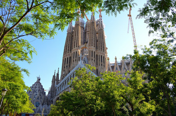 Building of Sagrada Familia of Barcelona, Spain on a Sunny Day