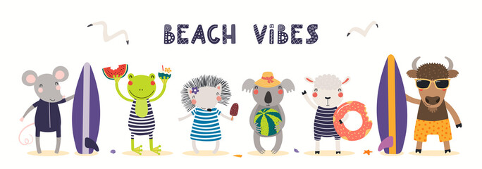 Hand drawn card, banner with cute animals in summer, text Beach Vibes. Vector illustration. Isolated on white. Scandinavian style flat design. Concept for kids holidays print, invite, poster.