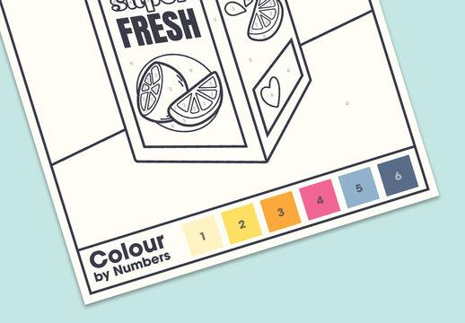 Coloring Sheet Layout with Juice Carton