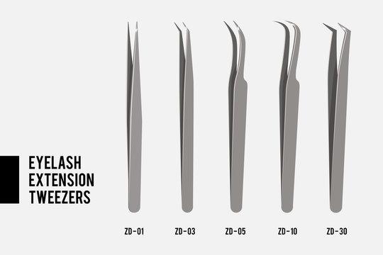 Tweezers for Eyelash extension. Set of Professional tools tweezers. Set of most popular steel tweezers isolated on white background