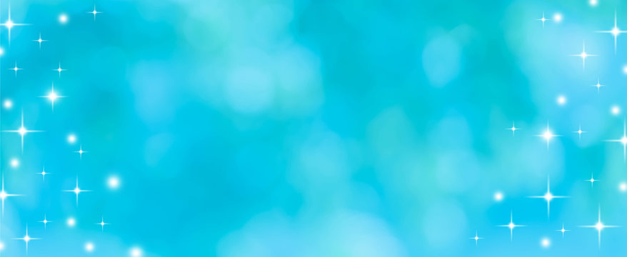 abstract blur blue and teal gradient color in panoramic background with bokeh glitter light for summer season vacation concept