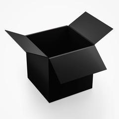 Realistic black cardboard packaging box  mock up on white background,  3d illustration