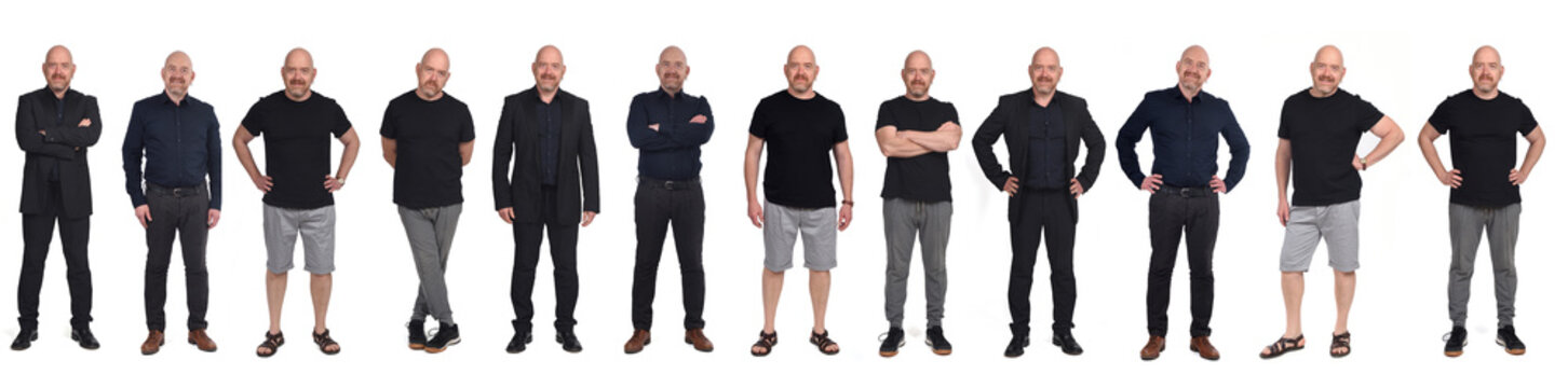 the same man in different outfits, on white background