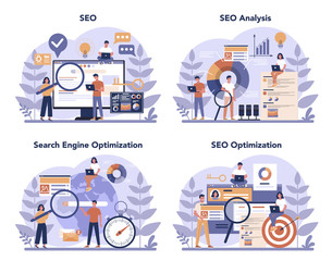 SEO concept set. Idea of search engine optimization for website