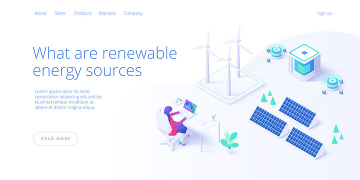Renewable energy sources concept in isometric vector illustration. Solar electric panels and wind turbines. Sustainable power plants for clean environment . Web banner layout template design.