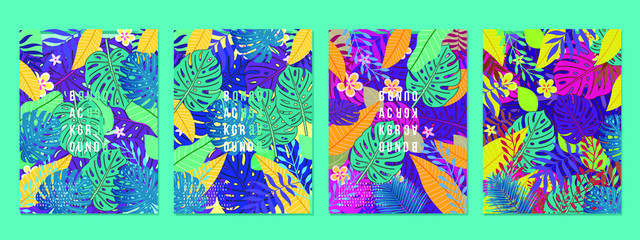 Wall Murals Imagination Summer tropical covers backgrounds set with leaf and flowers,Trendy Abstract and modern vivid bright vibrant spring pattern for poster,cards,web,book,social media,ads and Magazine.Vector Illustration.