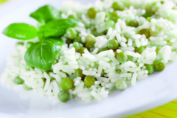 Wall Murals Lily of the valley vegan dish of rice and peas in the version of Venetian cuisine