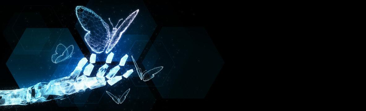 Abstract blur robot ai hand hold 3D virus butterfly illustration digital innovation futuristic technology transform evolution New normal after coronavirus crisis management business world life change