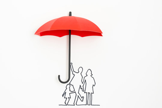 Complete family life insurance sign icon with umbrella and family silhouette