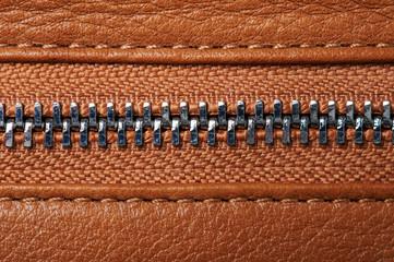Metal zipper close up view