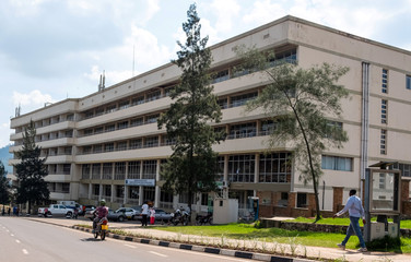 General view of former building belonging to Rwandan genocide fugitive Felicien Kabuga, which is now the Rwanda traffic police headquarters in Kigali