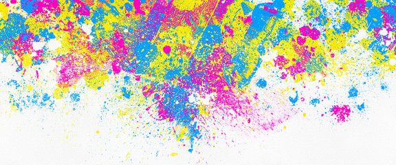 neon color paint splatter on white background, abstract image Fotomurales