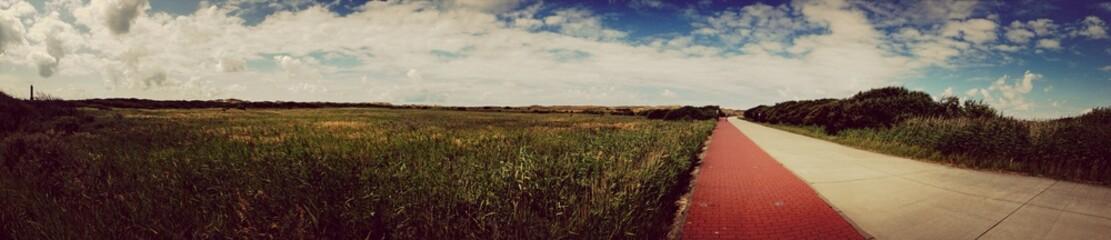 Foto auf Gartenposter Cappuccino View Of Empty Country Road Along Landscape