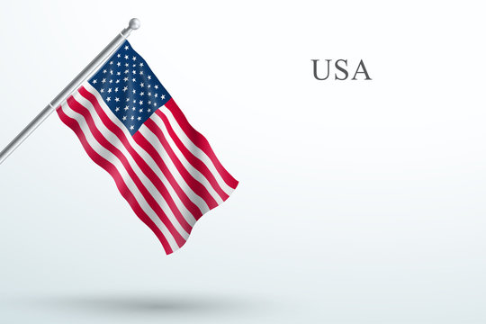 USA Flag Waving Hanging Down 3d Flagpole Vector