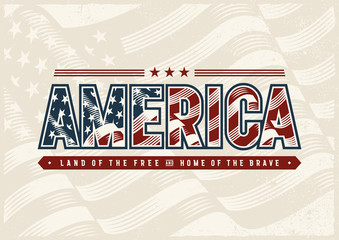 Vintage America Typography Logo. Editable EPS10 vector illustration in woodcut style with clipping mask and transparency.