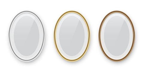 Oval podium frames. Golden, silver and bronze borders isolated on white background. Vector illustration