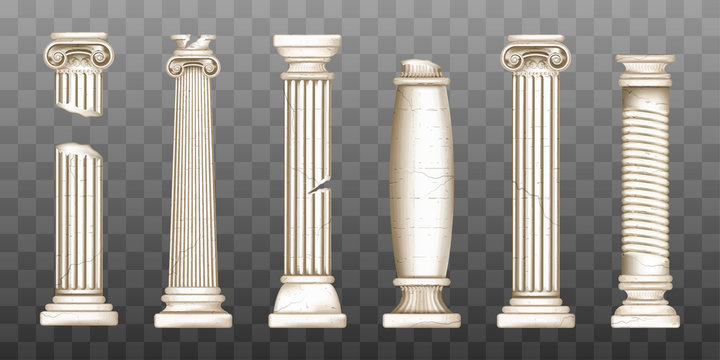 Ancient roman columns, marble baroque architecture. Vector realistic old broken antique greek pillars with capitals in doric, corinthian, ionic and tuscan style isolated on transparent background