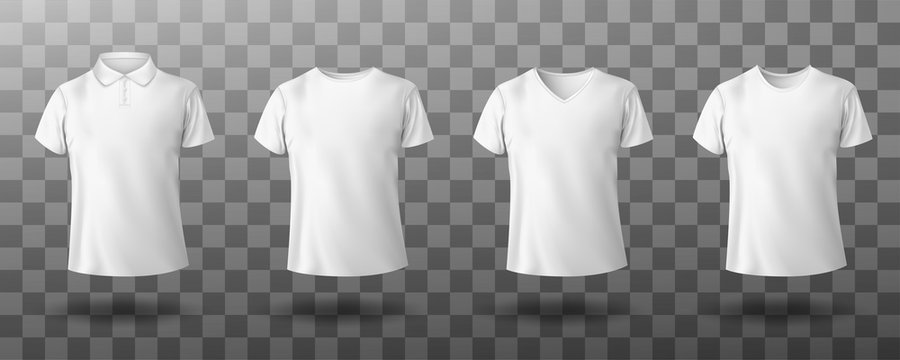 Men white polo and t-shirt round crew, v-neck front view. Vector realistic mockup of male blank t-shirt with collar and short sleeves, sport or casual apparel isolated on transparent background