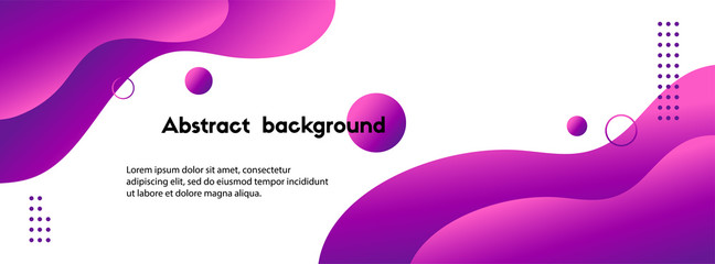 Poster Abstract wave Liquid abstract vector background. Violet wavy fluid long banner template for social media