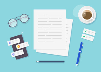 Writing text content vector on writer work desk table top view or creating essay document or book on workplace flat lay cartoon, illustrated author or editor space with pen, coffee cup modern image