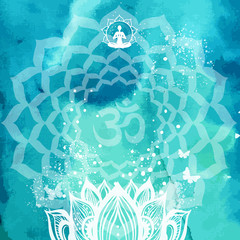 Background with lotus and Yoga symbol