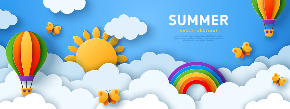 Beautiful fluffy clouds on blue sky background with summer sun, butterfly, hot air balloons and rainbow. Vector illustration. Paper cut style. Place for text