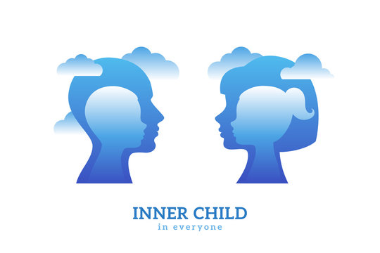 Human head with inner child inside. Vector illustration. Psychology logo concept. Blue man and woman silhouettes isolated on white background for psychotherapy design.