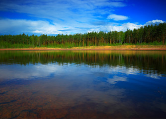 Poster Lac / Etang Dramatic reflections of summer forest background