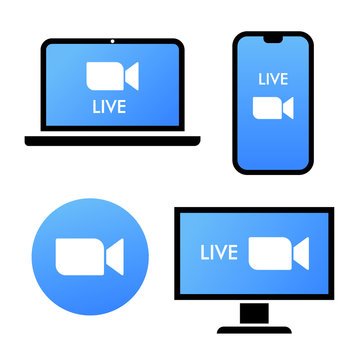 Blue camera icon - Live media streaming application on different devices - laptop, smartphone, tv, tablet, monitor, conference video calls with several people at the same time vector icon logo