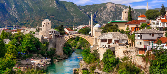 Papiers peints Con. Antique Beautiful iconic old town Mostar with famous bridge in Bosnia and Herzegovina, popular tourist destination
