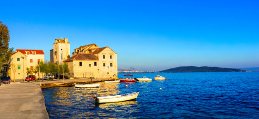 Beautiful coastal towns in Croatia. Scenic Kastella in Dalmatia. View of Kastel Stafilic village