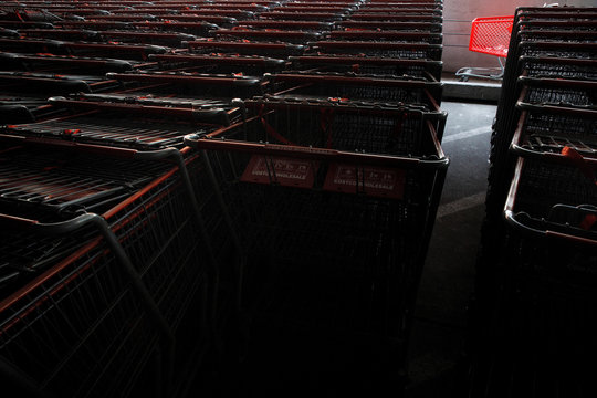 Shopping carts are seen illuminated by sunlight inside of a Costco shopping cart corral, in Wheaton, Maryland