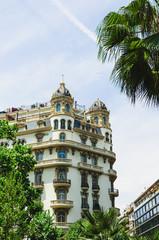 Facade of buildings in Barcelona, Spain