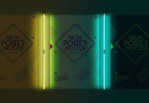 Posters and Neon Lights Mockup