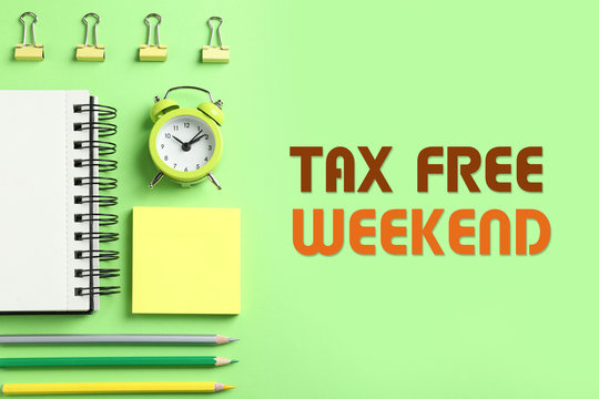 Modern stationery and text TAX FREE WEEKEND on green background, flat lay