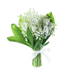 Poster de jardin Muguet de mai Beautiful lily of the valley flowers isolated on white