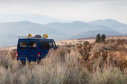 Camper in the hills of Winthrop, Washington