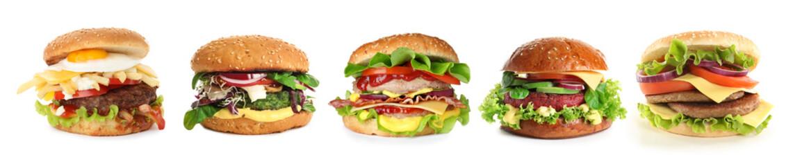 Set of different delicious burgers on white background. Banner design Papier Peint