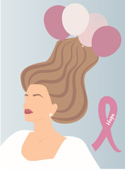 Young woman portrait with long hair blown away with pink tone balloons blue background. Breast cancer symbol ribbon Hope word