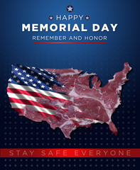 Happy Memorial Day greetings with an American flag half-covering a steak. Its steak shape is like that of the USA. In addition, there is another caption in the picture:Stay safe everyone.