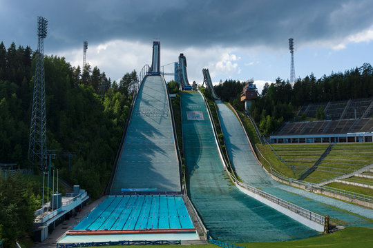 LAHTI, FINLAND - JUNE 10, 2013: The symbol of the city, ski jump Salpausselka, venue for international sports competitions.