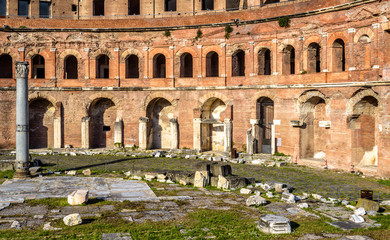 Fototapete - Trajan's Forum and Market building, Rome, Italy. It is famous tourist attraction of Rome. Great ruins in old Rome city center