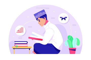 Islamic boy character reading Qoran